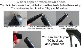 heel replacement - fashion shoe heel protectors - talon chic - design on stiletto - heel cap
