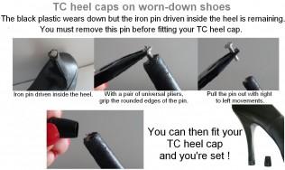 colored stiletto - shoe repair - high heel - worn out heel - kitten heels