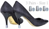 Heel tips and shoe heel protectors 3 Pairs - one Size - silver